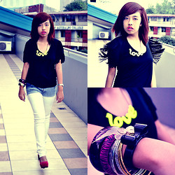 Ally Canasa - Zara Black Fringe Blouse, Love Neon Necklace, Folded & Hung Ombre Pants, Tomato Assorted Bangles, H&M Black Bow Bracelet - Get Your Fringe On!