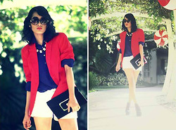 Veronica Lleander - Forever 21 Sunnies, Red Blazer, Long Sleeves Polo, Shorts, Clutch, Jellybean Wedge, Necklace - Walking on Sunshine