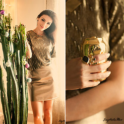 Tienlyn . - Tinley Road Gold Skirt, Yves Saint Laurent Ring, Meagan Reelitz Crafted Necklace - Style Swap: Dripping in Gold