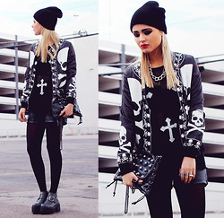 Bebe Zeva - Romwe Skull Print Bomber Jacket, Romwe Cross Print Distressed Sweater, Romwe Leatherette Shorts, Yes Style Buckled Ankle Boots, This Is Transition Studded Clutch - CROSS YOUR FINGERS