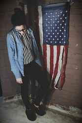 Alexis Nigro - Urban Outfitters Striped Tank, Urban Outfitters Chambray Shirt, Tuk Creepers, Pacsun Black Jeans, Ray Ban Wayfarer Glasses - Stars and Stripes
