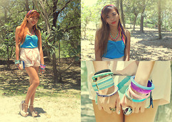 Shelvie Fernan - Pastel Ribbon Shorts, Tube Top, Colorful Stripes Scarf - Live Life With Colors