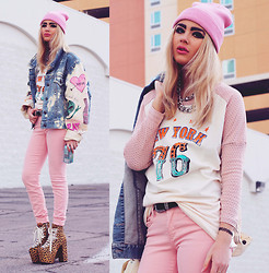 Bebe Zeva - Paradox Diy Acid Wash Jacket, Yes Style New York Print Baseball Tee, Unif Hellbound Platform Boots In Leopard - 4EVER A H8R