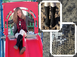 Alexandra H. - Bcbg Gray Blazer, Converse Lace Up Boots, Romeo & Juliet Couture Leopard Print Silver Sequined Dress, Cream Leggings, Abg Accessories Inc. Red Checkered Scarf - From Sequin to Shining Sequin