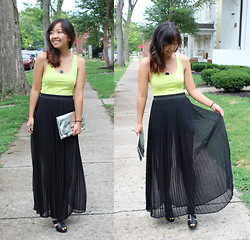 Angie C - Pitaya Sheer Pleated Maxi Skirt - She peered through the sheer cover of night at neon lights