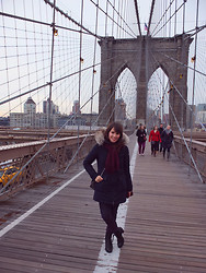 Vanessa P. - Peuterey Coat, Zara Jeans, Acne Studios Pistol Boots - Over The Brooklyn Bridge