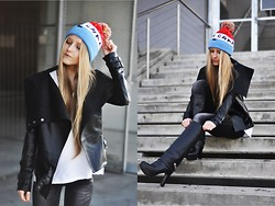 Dominica Justyna - Romwe Leather Jacket, Stradivarius Jeans, Lazy Oaf Beanie, Zara Leather Boots - Have a crap day!
