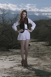 Haley G - Wrangler 70s Vintage Vest, Vintage White Shirt Dress - Get lost with me.