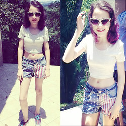 Mariana S. - Topshop Grey Cropped Shirt, Denim Co. American Flag Shorts, Vans Ethnic Trainers, Topshop Mosaic Stamp Sunglasses - You know you made my eyes burn