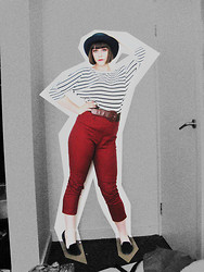 Miss Harriet Jane . - Vintage Hat, Cotton On Body Striped 3/4 Sleeve Tee, Revival High Waisted Red Patterned Pants, Miss Shop Black Flats - Strike while the irons hot