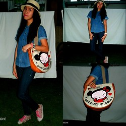 Pauline P. - Mickeys Top, Hat, Jeans, Diy Cuff, Pucca Bag, Local Ring - ON THE GO