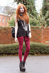 Olivia Emily - Unif Skull Hand Tank, Crushed Velvet Leggings, Jeffrey Campbell Fredas, Backpack - The Eleventh Hour.