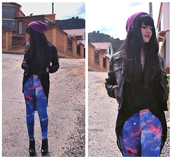 Luisa Fernanda Castellanos - Nasty Gal Galaxy Pants, American Apparel Beanie, Forever 21 Black Shirt, Gucci Black Leather Jacket, Zara Dark Boots - Space Invaders II