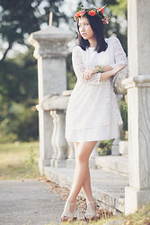 Virna Alyssa Cabuhat - Zara White Lace Dress, Foxy Shoes, Diy Floral Wreath - Flowers on my Head