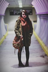 Alexis Nigro - Xsre Fringe Infinity Scarf, Urban Outfitters Bag, Urban Outfitters Green Military Jacket - Somewhere Over the Rainbow
