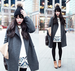 Ivy Xu - Jnby Coat, American Apparel Sweater, Express Skirt, Zara Bootsz - To begin with