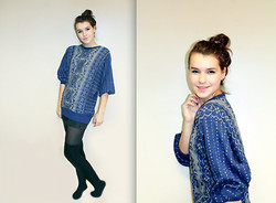 Eline Piso - H&M Shorts, Second Hand Sweater - Blue Days