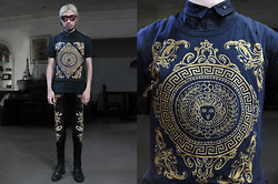 Andre Judd - Medusa Printed Tee With Holes And Distress, Baroque Print Trousers - HAPPY NEW YEAR!!!!!!!