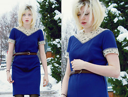 Emma B - Vintage Blue Beaded Dress - New Years Day