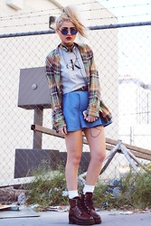 Bebe Zeva - Calvin Klein Crop Top, Chic Wish Denim Circle Skirt, Ralph Lauren Flannel Shirt, Skechers Boots - 1993