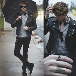 Adam Gallagher - Leather Jacketq, Dre Beats, Rings - Phoenix & Crown