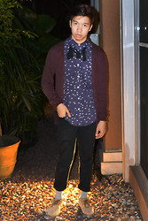 James Jason Martin - H&M Burgundy Cardigan, Topman Willow Silhouette Printed Button Down, Crave More Braided Fringe Necklace, H&M Slim Fit Skinnies, Oxygen Printed Socks, Call It Spring Suede Cognac Mid Top - New Year's Eve