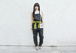 Yuka I. - Vintage Cropped Turtleneck, Ecote Sweater, Cheap Monday Bag, H&M Leather Overalls, Alexander Wang Fabiana Heels - Leatheralls