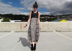 Amy Dunn - Topshop Sunglasses, Thrifted Aztec Maxi, Asos Suede Boots - Aztec