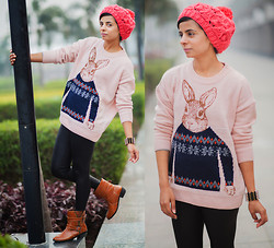 Ekta Sheoran - Beanie, Chunk Knit Sweater, Forever 21 Faux Leather Leggings, Spiked Boots - Mr. Rabbit !