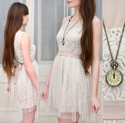 Ariadna M. - Awwdore Lace Beige Dress With Bow, L.O.L.A Necklace With Vintage Watch - Midnight...