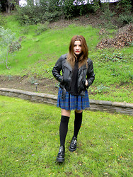 Allysa Stone - H&M Biker Jacket, American Apparel Plaid Skirt, Dr. Martens Aggy Strap - Living inside your mind