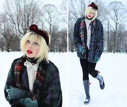 Emma B - American Apparel Velvet Twist Scarf, Joules Tie Detail Wellies, Vintage Plaid Cardigan - Your mouth is wine