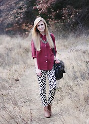 Susie Gibson - Vintage Maroon Button Down, H&M Dalmatian Pants, Forever 21 Chesnut Booties, Forever 21 Feather Necklace, Ebay Faux Fur Bag - WIN A TRIP TO NEW YORK FASHION WEEK WITH ME!