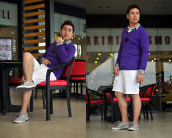 Vergil Lloyd Chua - Bench White Button Down Shirt, Giordano Purple Sweater, Cravemore Acrylic Necklace, Rolex Time Keeper, Giordano White Shorts, Zara Gray Shoes - Believer