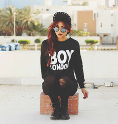 Bernadette F - Allover Spike Cap, Round Sunnies, Boy London Print T Shirt, Topshop Tights - BOY LONDON