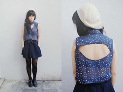 Reese Ungson - Shapes Polka Dotted Top, Forever 21 Navy Skirt, Nine West Ankle Boots - Yoko