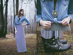 Madison Arrebella - Black&White Maxidress, Pacsun Long Sleeve Denim, Urban Outfitters Studded Booties, Pendant Necklace - Vertical