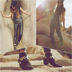 Jill Wallace - Luna B. Strapped Leather Overalls, Luna B. Shredded Beanie, Aldo Boots, Brandy Melville Usa Crop Top - M I N O R // D E T O U R
