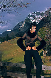 Santiago Artemis - Artemis Turtle Fur Neck, Artemis Fur Sleeves Shirt, Armani Exchange Breeches Pants - HEIDI ALPS