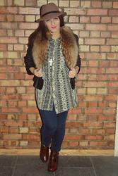 Pass the Salt Clothing - Reiss Hat, My Grandads' Wardrobe! Shirt, Topshop Leather Jacket, Ebay Fur Scarf, Uniqlo Jeans, Topshop Boots - AZTEC