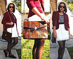 Cecilia R. - Shoedazzle Animal/Snake Gold Chain Messenger, Forever 21 Burgundy Blazer, H&M Ruffle/ Cream Skirt, Forever 21 Black Oxfords, Urban Outfitters Sun Hat - The Second Day Of The Rest Of Life