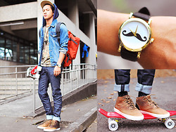 David Guison - Supra High Cut Sneakers, Urban Outfitters Mustache Watch, Cravemore Necklace, Sm Accessories Cap - Skate Park