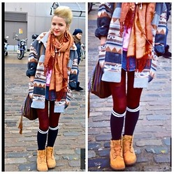 Estephanie C - Charity Shop Jacket, Timberland Boots, Primark High Socks, Market Scarf, Claire's Bag - Gossip Folks