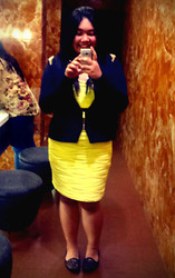 Bey Siongco - Forever 21 Studded Blazer, Sonya's Garden Black Oval Ring, Forever 21 Yellow W/ Sew In Belt Wave Dress, So! Fab Black And Gold Studded Flats - Mirror My New Year
