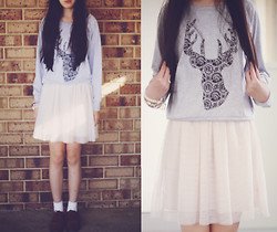 Amanda Mabel - Perth Deer Sweater, Tulle Skirt, Brown Oxfords, White Socks - Oh Deer