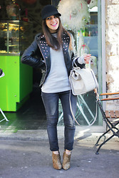 Thelittleworldoffashion Aude - Samsoe & Jeans, Love Boots, Versace Bag, Jennyfer Perfecto, Naf Hat - Pink lips