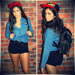 THE LOT ♥ - The Lot Embroidered Mickey Mouse Vintage Denim Shirt, 2bop 5 Panel Flat Peak Snapback Cap, Self Service Black Leather Backpack, Self Service Black Denim Shorts With Gold Stud Detail - Oh Mickey