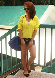 MIMI MAGNAIT - Zara Blue Bag, Gap Yellow Polo, Forever 21 Basic Sando, Somewhere In Denim Ripped Shorts, Payless Shoes Ballerina, Zara Sunglass - 125: I'm Back!