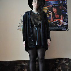 anaïs ▲ - Vintage Velvet Something, Mum's Belt, Pull & Bear Lion Shirt, River Island Kind Of Leather Skirt, Mum's Silver Chain, H&M Hat, Pulp Fiction Mia -  i would completely destroy you.