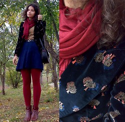 Oana S. - Thrifted Trees Printed Velvet Blazer, Burgundy Scarf, Brick Red Tights, Leather Boots, Thrifted Pleated Skirt, Zara Camel Sweater - Trees Velvet Blazer